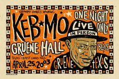 Keb Mo Blues poster poster  austin texas rock by austingigposters