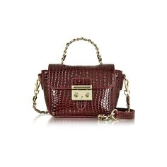 Roccobarocco Handbags Mini Croco Embossed Eco Leather Shoulder Bag (365 RON) ❤ liked on Polyvore featuring bags, handbags, shoulder bags, burgundy, mini purse, man bag, handbags shoulder bags, chain shoulder bag and red purse