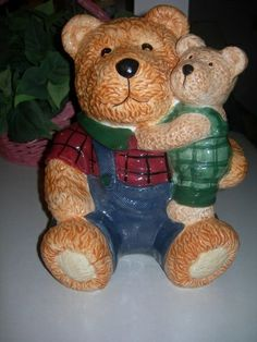 Bear Cookie Jars Collectibles | GKA - Papa and Baby Bear cookie jar | Cookie Jars