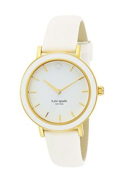 kate spade new york 'metro' enamel bezel leather strap watch, 38mm available at #Nordstrom