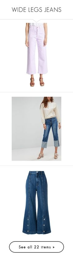 """""""WIDE LEGS JEANS"""" by zazaofcanada ❤ liked on Polyvore featuring jeans, lupin, patch jeans, zip jeans, purple jeans, back pocket jeans, zipper fly jeans, blue, two-tone jeans and cropped denim jeans"""