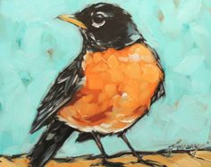 "Robin painting, 6x6"" impressionistic original oil painting of an American Robin. bird art, bird paintings"