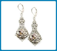 Silver Steampunk Earrings, Silver Steampunk Jewelry in Silver with Vintage Watch Movements in Victorian Style, Steam Punk Jewelry, Handmade in the USA - Wedding earings (*Amazon Partner-Link)