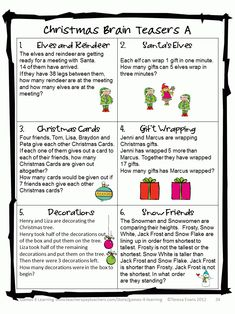 Christmas Math, Games, Puzzles and Brain Teasers is a 'Top Ten Best Seller' from… Xmas Games, Printable Christmas Games, Holiday Games, Christmas Activities, Holiday Fun, Christmas Riddles For Kids, Christmas Office Games, Company Christmas Party Ideas, Holiday Ideas
