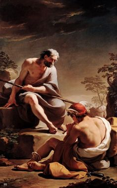 Mercury lulling Argus to sleep. 1770-75. Ubaldo Gandolfi. Italian. 1728-1781. oil on canvas. http://hadrian6.tumblr.com