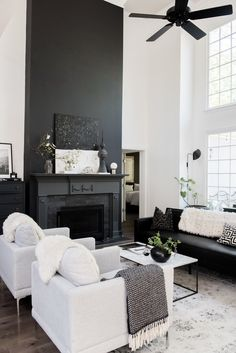 Before And After: A Dated Georgia House Gets The Scandi Treatment! my scandinavian home: Before And After: A Dated Georgia House Gets The Scandi Treatment! Black and white living room with dramatic fireplace. Black And White Living Room Decor, Elegant Living Room, White Home Decor, Living Room Grey, Living Rooms, Living Room Color Schemes, Living Room Designs, Room Interior, Interior Design