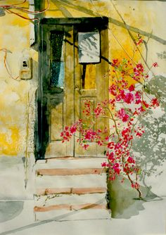 "bougainvillea door naxos 4 30"" x 22"" micheal zarowsky / watercolour on arches paper / private collection"