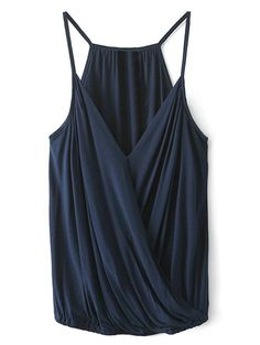 V Neck Wrap Cami Top - CADETBLUE S