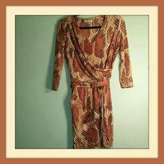 Jennifer Lopez Snakeskin Belted Wrap Style Dress S