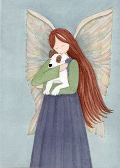 In memory of my little Jess. Angel with Jack Russell Terrier (JRT Parson) / Lynch signed folk art print. $12.99, via Etsy.