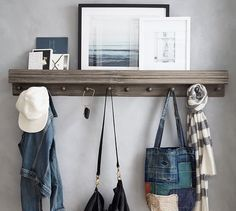 Get that custom look for less. This hook-and-shelf unit from Pottery Barn is edged with beautiful wooden molding. You can line up as many as you need; they fit right in like they were built for your space.