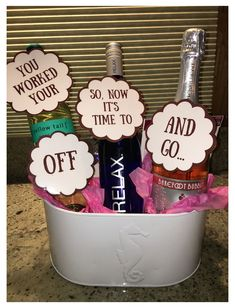 Alcohol Gift Baskets, Wine Gift Baskets, Alcohol Gifts, Basket Gift, Teacher Retirement Gifts, Retirement Gifts For Women, Retirement Ideas, Retirement Parties, Gifts For Boss Male