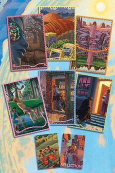 Original Card Set Design for Cafe Gratitude by Julia Stege of Magical-Marketing.com featuring illustrations by Frank Riccio