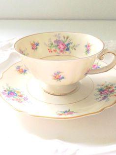 Vintage K&A Krautheim Selb Bavaria Germany Bone China Tea Cup and Saucer Tea Party