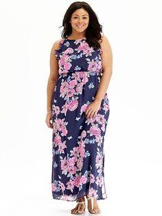 Women's Plus Floral Chiffon Maxi Dresses