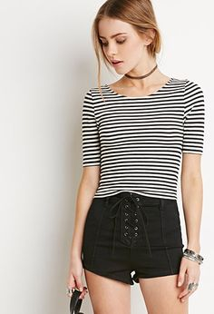 Ribbed Stripe Crop Top | Forever 21