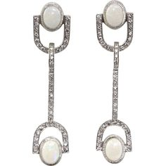 Pair of 14 Karat White Gold Diamond and Opal Stiletto Earrings, from Pasarel in Israel online on Ruby Lane!