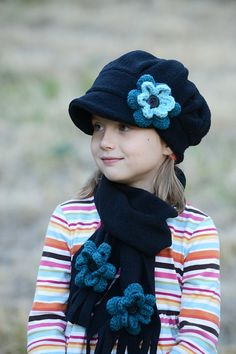"Black girls winter fleece hat with flower -  custom colors - winter hats - 4 -7 years - 20"" - free shipping - READY TO SHIP"