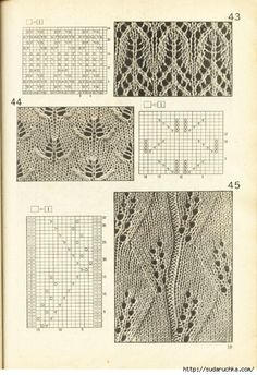 Photo from album узоров спицами on Yandex. Lace Knitting Patterns, Knitting Stiches, Cable Knitting, Knitting Charts, Lace Patterns, Hand Knitting, Stitch Patterns, Knitting Tutorials, Knit Stitches