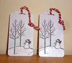 InvisiblePinkCards: Snowman Christmas Tags using Stampin' Up White Christmas and Scalloped Tag Topper Punch