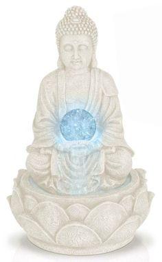 Boeddha met fontein en LED-licht (30cm)