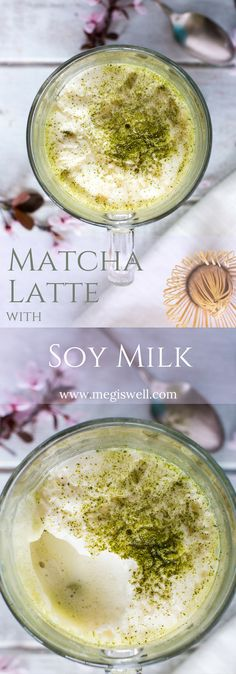 Steamed and frothed soy milk, lightly sweetened with honey, make this Matcha Latte with Soy Milk a cheaper and better tasting version than what you can get in a café. | www.megiswell.com