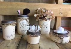 Cosmetic Organization, Mason Jar Set, Flower Vase, Shabby Chic, Rustic Decor, Distressed, Makeup Storage, Off White Vanity Set, Piggy Bank by VintageDaisyHome, $38.00 USD