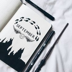Magical Harry potter bullet journal ideas you need to see! Almost a mess Are you a Harry Potter fan looking for some bullet journal inspiration?This post collects more than 40 Harry Potter bullet journal ideas for your bujo. Bullet Journal Inspo, Bullet Journal 2020, Bullet Journal Notebook, Bullet Journal Spread, Bullet Journal Layout, Bullet Journal September Cover, Bullet Journals, Bullet Journal Doodles Ideas, Bullet Journal Quotes