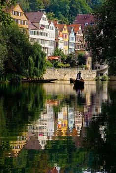 """Why am I not going to Germany? """"Tübingen by boat, Baden-Württemberg, Germany"""" Places Around The World, Travel Around The World, Around The Worlds, Places To Travel, Places To See, Travel Destinations, Wonderful Places, Beautiful Places, Voyage Europe"""