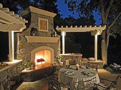 Photo of Alder Group Pool & Landscape - Walnut Creek, CA, United States. Beautiful Outdoor Fireplace and Patio Outdoor Fireplace Designs, Backyard Fireplace, Backyard Patio, Outdoor Fireplaces, Backyard Ideas, Backyard Projects, Fireplace Ideas, Patio Ideas, White Pergola