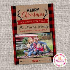 Buffalo Plaid Rustic Christmas Holiday Card  - Digital File by BlaineLeeCo on Etsy https://www.etsy.com/listing/472942975/buffalo-plaid-rustic-christmas-holiday