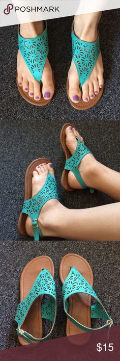 Charming Charlie Teal Sandals Only worn once or twice - good condition Charming Charlie Shoes Sandals