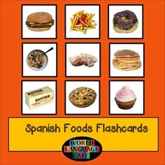 Spanish Foods Flashcards, Comida.  Large and small flashcards for 45 foods, plus 6 review activities, colorful class notes, and video clips.