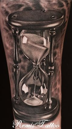 Black And Grey 3D Hourglass Tattoo On Forearm By Remistattoo