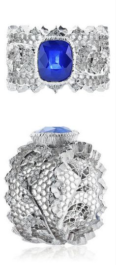 *Buccellati Sapphire and Diamond Ring, Elegant and rare filigree 18k white gold ring crafted by the famed house of Buccellati set with a 2.75 Carat gem quality cornflower blue sapphire with AGL cert # CS 62273 centered on an elaborate diamond and open work band.