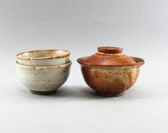 green tea bowl, Gaiwan, Japanese style tea set, Shiboridashi tea set - By Clay and Wood Studio