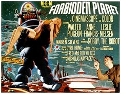 Forbidden Planet Poster (probably the second movie I ever saw ; we got tickets by sending in box tops ! h white