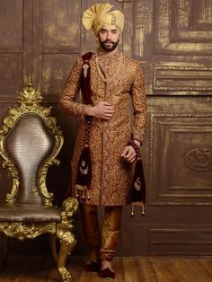 - Maroon Red and Tan Brown Jacquard and Brocade Embroidered Wedding Sherwani You are in the right place about bohemian Groom Outfit Here we offer you the most beautiful pictures abou Sherwani For Men Wedding, Wedding Dresses Men Indian, Groom Wedding Dress, Sherwani Groom, Groom Dress, Wedding Men, Wedding Suits, Indian Weddings, Ethnic Wedding