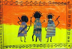 we heart art: African Dancers, great use of color and mixed media