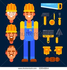 Builder male and items for building and repair. Vector flat illustration.