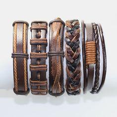 5 Piece Handmade Leather Bracelet Set Men's Leather Bracelet Women's Braided Leather Wrap Braclet  BST-184