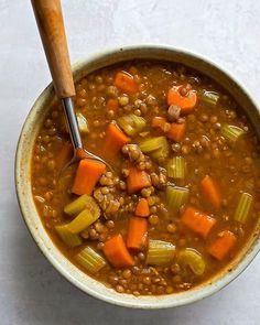 This easy vegetable lentil soup is light healthy and packed full of good-for-you ingredients. Its easy to customize an. Dutch Oven Set, Soup Recipes, Cooking Recipes, Drink Recipes, Chicken Recipes, Lentil Soup, Creamy Chicken, Make It Simple, Main Dishes