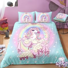 Shop for unicorn bedding set, unicorn personalized bedding set. We have a lot of styles of unicorn bedding sets. Find your kid's unicorn bedding sets now! Trendy Bedroom, Bedroom Sets, Girls Bedroom, Bedroom Black, Bedrooms, Unicorn Bed Set, Unicorn Bedroom, Unicorn Land, Ballerina Bedroom