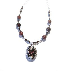 Murano Glass Brown Pendant Sterling Silver Necklace, Venetian Necklace, Italian Glass Jewelry