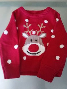 Toddler Christmas light up sweater size 18 months Red nosed Reindeer   fashion  clothing   adb1d0e5b
