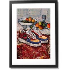 Framed Fashion still life painting Nike Air Force 1 Print, X – Prorsum Museum Air Force 1, Nike Air Force, Fashion Still Life, Black Wood, Solid Black, Be Still, Illustration Art, Museum, Drawings