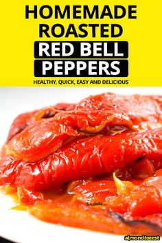 Roasting your own fresh red bell peppers at home couldn't be easier and these roasted red bell peppers are delicious! All it takes is a few steps and you will never have to waste money Best Dessert Recipes, Fun Desserts, Breakfast Recipes, Snack Recipes, Dinner Recipes, Healthy Low Carb Recipes, Healthy Snacks, Stuffed Peppers Healthy, Gluten Free Pancakes
