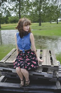 Sarah Huff - Forever 21 Jean Button Up, Nasty Gal Floral Skirt, H&M Studded Heels - Sittin' Pretty