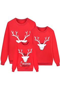 The perfect Reindeer Christmas Sweatshirts for Family Long Sleeve Cute Deer Print Kids Mama Dad Matching Outfit reindeer christmas jumper. ($17.99) alltoenjoyshopping from top store