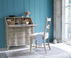 The Quill is a hand carved bureau desk. It is beautifully made from reclaimed fir with a beached timber finish. Worthy of the greatest literary works! Home Office Layouts, Home Office Space, Office Spaces, Office Ideas, Modern Country Bedrooms, Vintage Writing Desk, Timber Kitchen, Painted Bedroom Furniture, Comfy Sofa